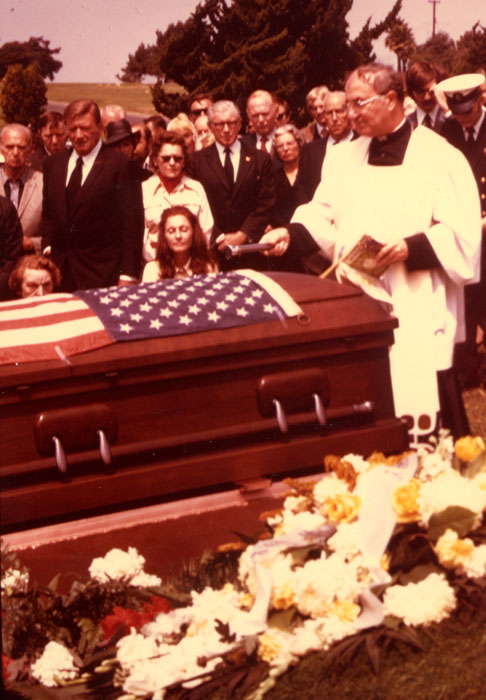 John Ford's funeral, Culver City, Ca., 1973; author second from right  (Don Schneider)