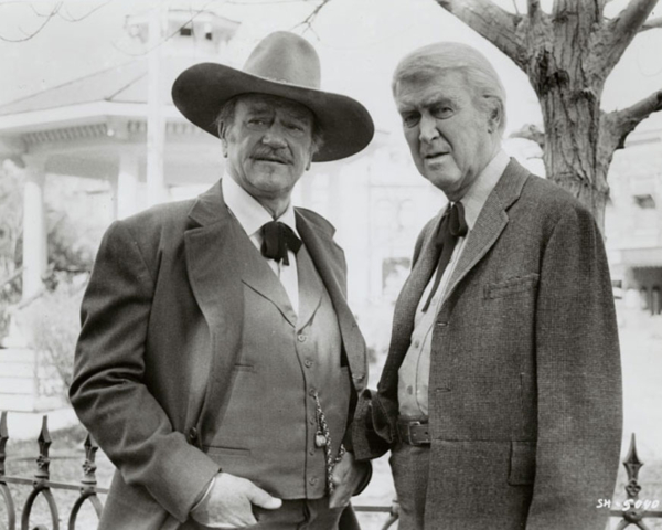 John Wayne and James Stewart in THE SHOOTIST, 1976  (Paramount/Academy of Motion Picture Arts and Sciences)