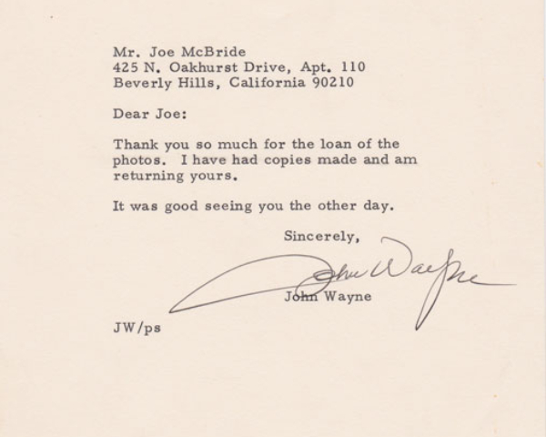 Letter from John Wayne about THE SHOOTIST, 1976