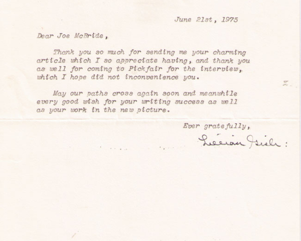 Letter from Lillian Gish, 1975