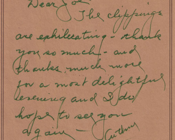 Letter from Jean Arthur, 1982