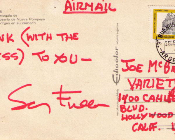 Postcard from Samuel Fuller in Buenos Aires, Argentina, 1970s