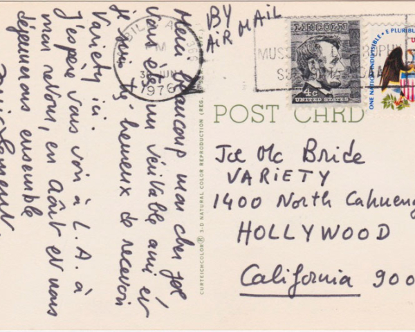 Postcard from François Truffaut from set of CLOSE ENCOUNTERS OF THE THIRD KIND, Mobile, Ala., 1976