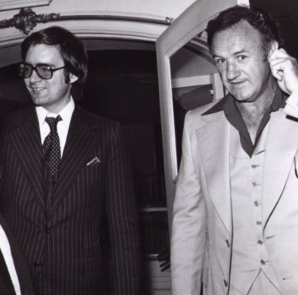 With Gene Hackman at Hollywood event, 1970s