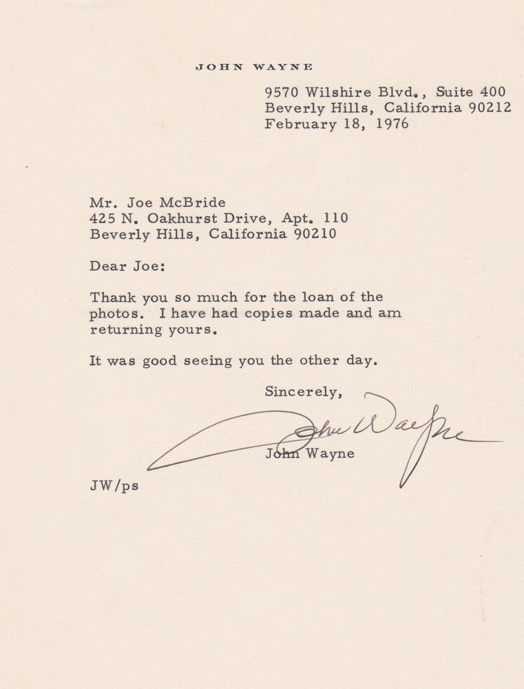 John Wayne letter to the author about their interview on the set of THE SHOOTIST (1976).